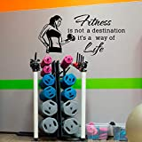 Jsnzff Sport wandtattoos fitnessstudio Fitness gesund Sport Frauen Vinyl wandaufkleber kunstwand Dekoration wandbild 37x84cm anpassbarer farbtext