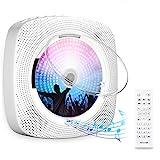 Gueray CD-Player für Wandmontage mit Bluetooth HiFi Lautsprecher Fernbedienung LED-Display Unterstützt FM-Radio USB-Player mit 3,5 mm Kopfhöreranschluss mit Staubschutzhü