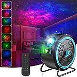 LED Sternenhimmel Projektor, Projektionslampe Nachtlicht Musik Player mit Bluetooth&aufgehängt&mitFernbedienung&Timer&360°Drehen, für Baby Kinder Schlafzimmer Heimkino Party Haus Dekoration (schwarz)