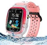 Smartwatch Kinder Telefonuhr, TLLAYGM Wasserdicht Smartwatch für Kinder mit Taschenlampen SOS Anruf Voice Chat Touchscreen Kids Smart Watch für Jungen Mädchen Geschenk (Pink)