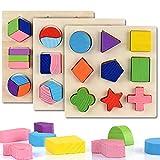 Steckpuzzle Geometrie, Holzpuzzle Geometrische Formen, Holzformen Steckspiel, Sortierspiel für Kind, Legespiel Puzzle Baby, Lernspielzeug ab 1Jahre,Geburtstagsgeschenkspielzeug (B) (B)