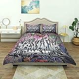 SmallNizi Bettbezug, Urban Graffiti Grunge Wandkunstdruck, Luxus-Bettwäsche-Set Bequeme leichte Mikrofaser