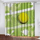 LWXBJX Blickdicht Vorhang für Schlafzimmer Wohnzimmer - Grünes Sporttennis - 3D Druckmuster Öse Thermisch isoliert - 300 x 270 cm - 90% Blickdicht Vorhang für Kinder Jungen Mädchen Spielzimmer