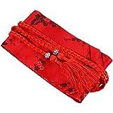 Amosfun Damen Kimono OBI Gürtel Japanischer Stil bestickte Taillenbänder Taillengürtel mit Quaste für Yukata Robe Zubehör Rot