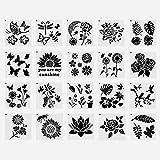 Malschablone, Blumen Malvorlage Schmetterlingsschablonen zum Malen auf Leinwand Wiederverwendbare DIY Bastelschablonen Kinder Zeichenwerkzeug,20 Stück