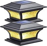 Solar-Pfostenleuchten für den Außenbereich, solarbetriebenes Glas, 2 Modi, warmweiß/kaltweiß, Beleuchtung für 4 x 4, 5 x 5, 15,2 x 15,2 cm Pfosten, Zaunkappe, Terrasse
