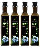 Kräuterland - Bio Schwarzkümmelöl ungefiltert - 1 Liter (4x 250ml) - 100% rein, schonend kaltgepresst, ägyptisch, nigella sativa, vegan - Frischegarantie: täglich mühlenfrisch direkt vom Hersteller