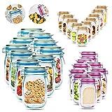 JIPRENS 30 Stück Mason Jar Zip Beutel, Lebensmittel Beutel Aufbewahrungsbeutel Wiederverwendbare Gefrierbeutel Mason Bag Auslaufsichere Versiegelt Food Storage Bags zum Backen von Keksen Süßigkeiten