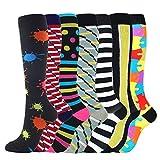 S-TROUBLE Crew Socken, 7 Paar Gemischte Damen Herren Kompressionssocken Mehrfarbig bedrucktes Nylon Atmungsaktiv Outdoor Sport Laufen Kniehohe Strumpfwaren Schlauchstrümpfe