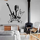 Rock N Roll Wandtattoo Musik Rock Gitarre Mikrofon Aufkleber Wandbild Kunst Wohnkultur Jungen Zimmer Musik Studio Dekor Wandbild A9 42x46cm