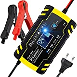 BUDDYGO Autobatterie Ladegerät 12V/24V Batterieladegerät Auto Vollautomatisches Intelligentes Erhaltungsladegerät mit LCD-Bildschirm, Ladegeräte für Autobatterien und Motorradbatterie
