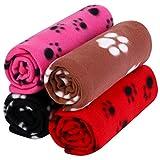 Aodaer 4 Stück Haustierdecken mit Pfotenabdrücken Haustierkissen Tierdecke Welpen-Hundedecke für kleine Tiere, schwarz, rot, kaffeefarben und rosenrot, 70 x 100 cm