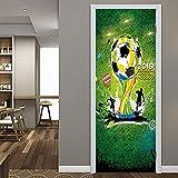 QHOXAI Türtapete Selbstklebend Türposter Wandbilder Green Grass World Cup 85X205Cm - 3D Türaufkleber Türfolie Türposter DIY Vinyl Entfernbar Mauer Aufkleber Zuhause Dekor Tapete Fototapete