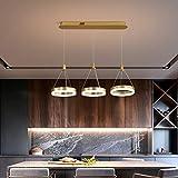 LED Pendelleuchte Hängelampe mit Fernbedienung Esszimmer Lampe, Modern Rechteck Runde Esstischlampe Dimmbar, Wohnzimmerlampe, Schlafzimmerlampe 3-flammig, Höhenverstellbar, D70cm (Golden, Dimmbar)