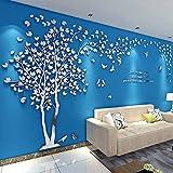 3D Wandaufkleber DIY Baum Wandtattoos Wandkunst Sticker Wandbilder Wanddekoration für Hause Weihnachten Schlafzimmer, Halle, Treppen, Babyzimmer, Kindergarten (Silber Links,S-200 * 100cm)