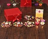 Sataanreaper Presentsartikel Diwali Geschenk Laxmi Ganesh Idol, Diya Öllampe, Gläserne, Metall Lakshmi Ganesha-Statue Für Hauptdécor -Set Von 4 Wax Schwimmkerzen-Gruß#SR-0381
