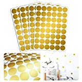 Wandtattoo Goldene Konfetti Punkte – 192 Aufkleber im Set – Farbe Gold – 3,3 cm D