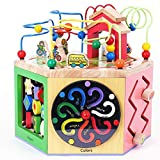 Holz Baby Kleinkind Spielzeug Puzzle Aus Holz Aktivität Cube - Entdecken Tiere Auf Dem Bauernhof Activity Center For Kinder 1 Jahr Early Learning Activity-Würfel Spielzeug, Kinder-Bead Maze Toy Kreisp