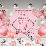 onehous 17. Geburtstag Dekoration Rosa, 17 Geburtstag Party Dekor für Frau Mädchen, Rosa Große Stoff Schild Poster zum Jahrestag Hintergrund Banner 17. Geburtstag Party Lieferunge