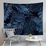 PPOU 3D grünes Blatt Wandteppich Tropische Pflanzen Wandbehang Hauptwanddekoration Wandteppich Hintergrund Stoff hängen Stoff A2 150x200