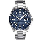 PAGANI DESIGN Herren-Automatikuhr Top Marke Mechanische Uhr Sport Edelstahl Wasserdicht Herrenuhr (Blau)