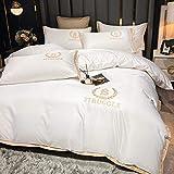bettbezug 200x200,Sommer Gewaschene Seide vierteilige weiße Hotel Bettwäsche Bettbezug-B_2,0 m Bett (4 Stück)