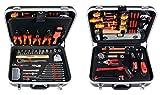 Projahn 8683 Werkzeugkoffer ELEKTRO 128-tlg. , Werkzeug Kasten / Nuss Satz / Ratschen Satz mit 6-Kant 1/2' Einsätze , inkl. Schrauberbits (Schlitz, PH, PZ, TX) , Knarre 48 Zähne , ABS Kunststoffkoffer