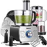 Decen Küchenmaschine Multifunktional, 1100W Food Processor mit 3 Geschwindigkeiten include Elektrischer Zerkleinerer, Standmixer, Zitruspresse, Kaffeemühle, 3.5L Rührschüssel, Silb