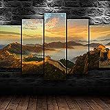 AWER Bilder 5 Teilig leinWandbilder Tolle Mauer von China Wunder leinwanddrucke 5 stück wandkunst Leinwand Bilder XXL Wohnzimmer Wohnkultur 150X80Cm Kreatives Geschenk