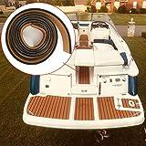 EVA-Teak-Terrassenbodenbelag Bootsbodenbelag 240 x 5,8 cm, Teakholzimitat, selbstklebende Bootsbodenmatte für Boot, Wohnmobil, Yacht, Meeresb