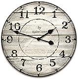 Isabel Iven Wanduhr Vintage ohne Tickgeräusche im Retro Stil mit Lautlosem Uhrwerk - Große Wand Uhr 30 cm Ø aus MDF