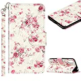 Cestor Handyhülle für Samsung Galaxy A02S,Stilvoll Bunt 3D Muster Stoßfest Brieftasche Klapphülle Schutzhülle Klappbar Weich Silikon Ständer Lederhülle mit Kartenfächer,Rosa Blume