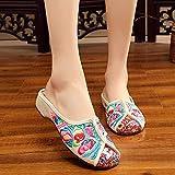 Jskdzfy Damen bestickte Schuhe Patchwork Frauen Canvas bestickt Close-Toe Hausschuhe Sommer Damen Komfort Draußen Zuhause Old Peking Flache Slide Schuhe (Farbe: Weiß, Größe: 37 UK)