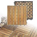 LZQ Holzfliesen aus Akazien Holz, 30 x 30cm 22er Set für 2 m², Garten-Fliese Bodenbelag mit Drainage, Klick-Fliesen für Garten Terrasse Balkon (Model A, 22 Stück | 2m²)