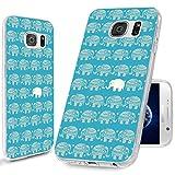 ChiChiC Schutzhülle für Samsung Galaxy S6, 360 Grad Schutz, kratzfest, dünn, flexibel, weiches TPU-Gel, transparent, mit Design für Samsung Galaxy S6, Cartoon-Tier, niedlicher Elefant auf Blaugrü