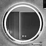 Runder LED-Badezimmerspiegel mit 3 Hellen Farben beleuchtet Hintergrundbeleuchteter Wand-Schminkspiegel mit Sensor Touch Control Farbtemperaturänderung IP65