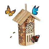 Relaxdays Insektenhotel, Nisthilfe Wildbienen & Schmetterlinge, hängend o. stehend, Garten, HBT: 20 x 13,5 x 10cm, N