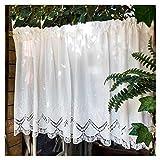 HHXD 1 Stück Pastorale Art Scheibengardine Baumwolle Bistrogardine Küchengardine Vorhang mit Spitze/Weiß / W200cm×H40cm
