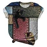 T-Shirt Damen Kurzarm V-Ausschnitt Oberteile Sommer Basic Oversize Long Shirt Streifen Fitness Sportshirt Casual Einfarbig Patchwork Tee Tops Atmungsaktiv Locker Bluse Freizeit Mode Tunika
