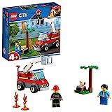 LEGO 60212 City Feuerwehr beim Grillfest, Bauset mit Feuerwehrauto-Spielzeug, Feuerwehrmann-Minifigur, Hot Dog und Grillzubehör, Feuerwehrfahrzeuge B