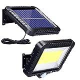 Solarlampen für Außen mit Bewegungsmelder, ZOYJITU 100 LED Strahler Außen 120° Superhelle Solarleuchten für Außen LED IP65 Wasserdichte 3 Modi Solar Wandleuchte mit 16.5ft Kabel, LED Solarleuchte