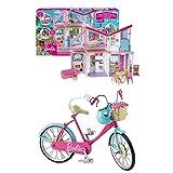 Barbie FXG57 - Malibu Haus Puppenhaus 60 cm breit mit +25 Zubehörteile, Puppen Spielzeug ab 3 Jahren + DVX55 - Fahrrad