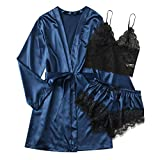 Ghemdilmn Damen 3 teilige Sets Morgenmantel Roben Atmungsaktives Dessous Set Satin Pyjama Set Robe Bralettes Unterhose für Braut Nachtwäsche Sexy Push Up Dessous