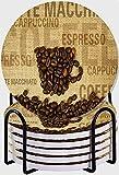 GUVICINIR Untersetzer für Getränke,Kaffeebohnen geformte Tasse und Kaffeesorten Schriftzüge Kunstdruck Ungiftig,Absorbierenden Saugfähige Untersetzer mit Halter