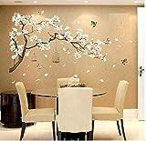 COVPAW® Wandtattoo Wandaufkleber XXL Pfirsichblüte Kirschblüte Pflaumenblüte Blüte Blumen Vogel Wandsticker Wandbild Bilder Wohnzimmer Schlafzimmer D