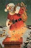 Nolstalgie Adventskalenderkarten Weihnachtsmann 5 Karten Grußkarten Goldprägung Kunstkarte Weihnachtskarte Adventskalender Frohe Weihnachten Retro