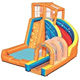 Aufblasbare Hüpfburg Kinder Hüpfburg Wasserspielzeug mit Rutsche, Kletterbecken und Luftgebläse für den Kinderspielplatz im Freien, 420 * 320 * 260CM