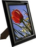 Displays2go Bilderrahmen, 20,3 x 25,4 cm, glänzend, abgeschrägter Rand, Schwarz, 6 Stück