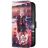 Uposao Kompatibel mit iPhone 6S Plus Hülle Leder Handyhülle 3D Bunt Glänzend Bling Glitzer Klapphülle Flip Case Schutzhülle Brieftasche Wallet Hülle Tasche Kartenfächer,Löw