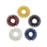 Massage Ring,UEETEK 5 Stücke Akupressur Ringe Chinesische Medizin Finger Massage Ring(Gold + Silber + Rot + Blau + Schwarz)